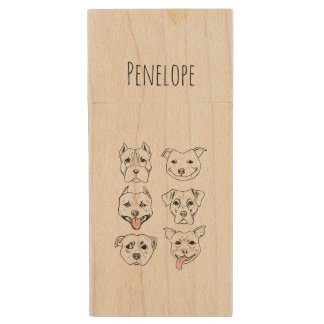 """""""Pittie Pittie Please"""" Dog Pattern   Add Your Name Wood USB Flash Drive"""