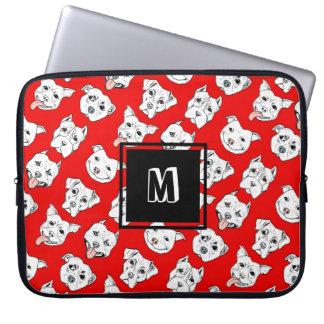 """Pittie Pittie Please!"" Dog Pattern   Monogram Laptop Sleeve"