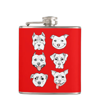 """Pittie Pittie Please!"" Pit Bull Dog Faces Hip Flask"