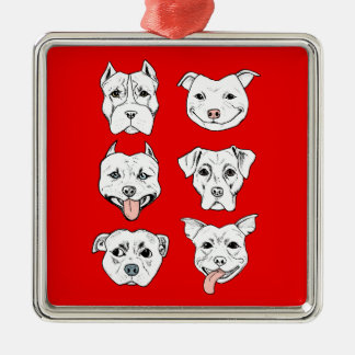 """Pittie Pittie Please!"" Pit Bull Dog Faces Metal Ornament"