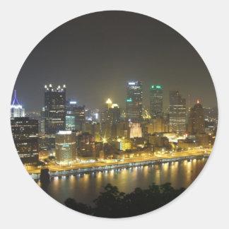 Pittsburgh at night classic round sticker