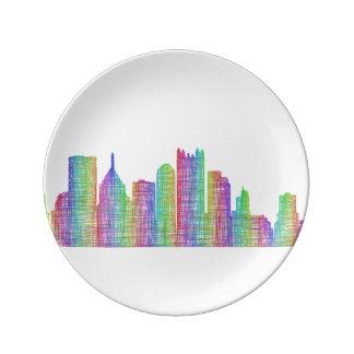 Pittsburgh city skyline porcelain plate