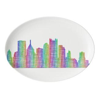 Pittsburgh city skyline porcelain serving platter