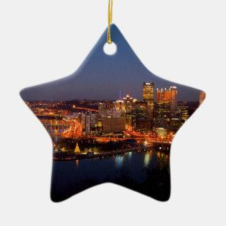 Pittsburgh Night Skyline Ceramic Ornament
