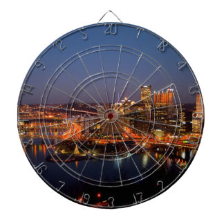 Pittsburgh Night Skyline Dartboard