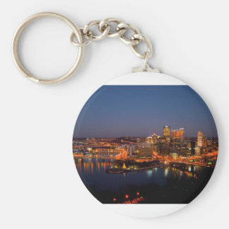 Pittsburgh Night Skyline Keychain