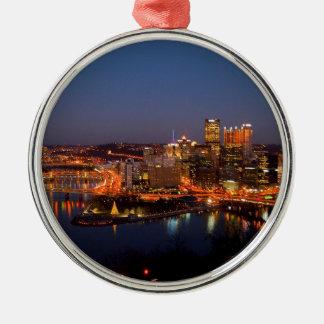 Pittsburgh Night Skyline Metal Ornament
