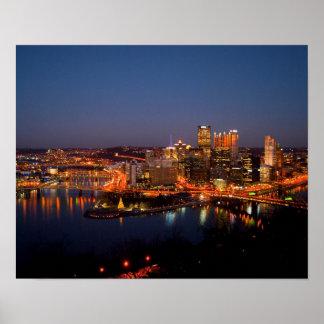 Pittsburgh Night Skyline Poster