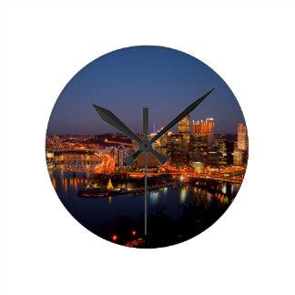 Pittsburgh Night Skyline Round Clock