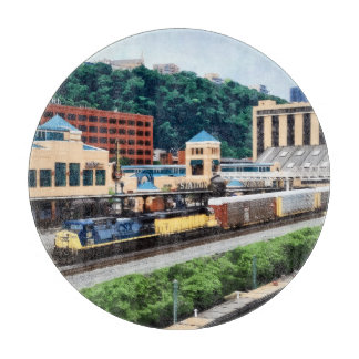 Pittsburgh PA - Train Going By Station Square Cutting Board