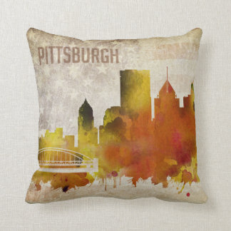 Pittsburgh, PA | Watercolor City Skyline Throw Pillow