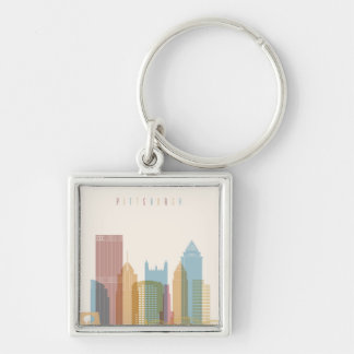 Pittsburgh, Pennsylvania | City Skyline Silver-Colored Square Keychain