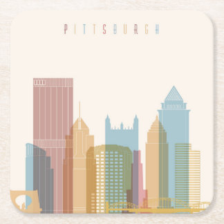 Pittsburgh, Pennsylvania | City Skyline Square Paper Coaster