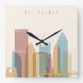Pittsburgh, Pennsylvania | City Skyline Square Wall Clock