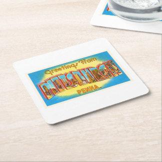 Pittsburgh Pennsylvania PA Vintage Travel Souvenir Square Paper Coaster