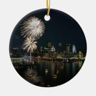 Pittsburgh- Rare -Photo- Ornament-Night & Day View Round Ceramic Ornament