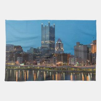 Pittsburgh Skyline at Dusk Kitchen Towels