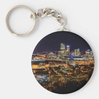 Pittsburgh Skyline at Night Basic Round Button Keychain