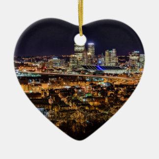 Pittsburgh Skyline at Night Ceramic Heart Ornament
