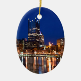 Pittsburgh Skyline at Night Ceramic Oval Ornament