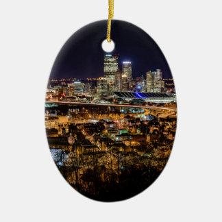 Pittsburgh Skyline at Night Ceramic Oval Ornament