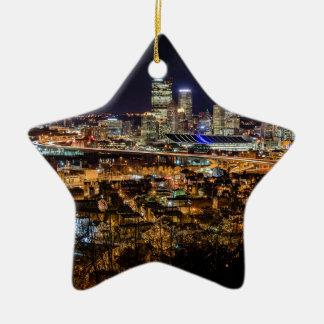 Pittsburgh Skyline at Night Ceramic Star Ornament