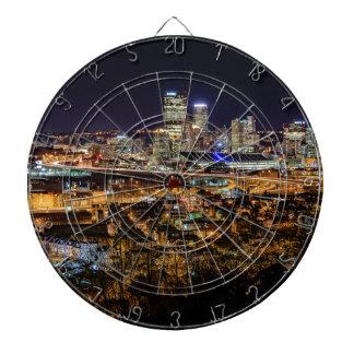 Pittsburgh Skyline at Night Dartboard