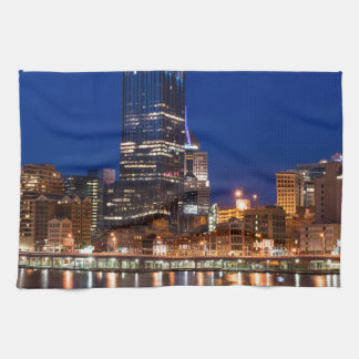 Pittsburgh Skyline at Night Hand Towels