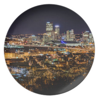 Pittsburgh Skyline at Night Plate