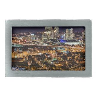 Pittsburgh Skyline at Night Rectangular Belt Buckle