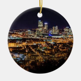 Pittsburgh Skyline at Night Round Ceramic Ornament