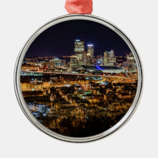 Pittsburgh Skyline at Night Silver-Colored Round Ornament