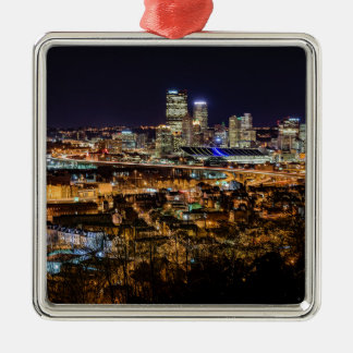 Pittsburgh Skyline at Night Silver-Colored Square Ornament