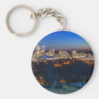 Pittsburgh Skyline at Sunset Basic Round Button Keychain