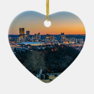 Pittsburgh Skyline at Sunset Ceramic Heart Ornament