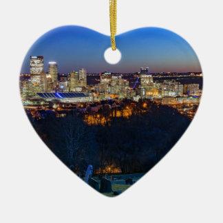 Pittsburgh Skyline at Sunset Ceramic Ornament