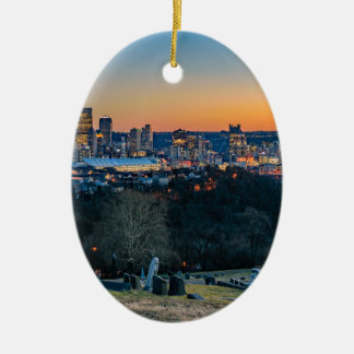 Pittsburgh Skyline at Sunset Ceramic Oval Ornament