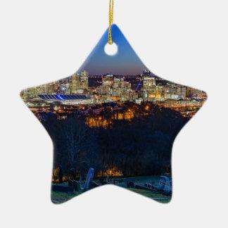 Pittsburgh Skyline at Sunset Ceramic Star Ornament