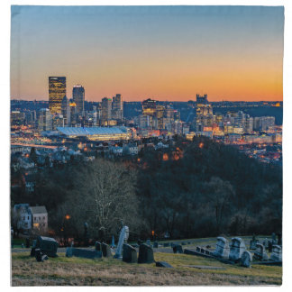 Pittsburgh Skyline at Sunset Cloth Napkins