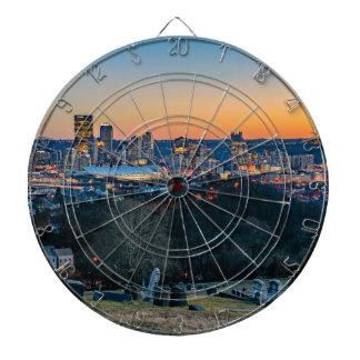 Pittsburgh Skyline at Sunset Dartboard