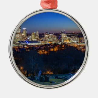 Pittsburgh Skyline at Sunset Metal Ornament