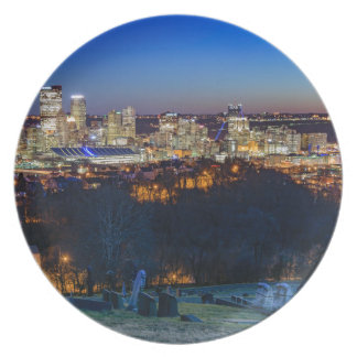 Pittsburgh Skyline at Sunset Party Plate