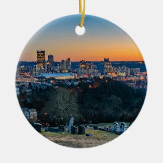 Pittsburgh Skyline at Sunset Round Ceramic Ornament