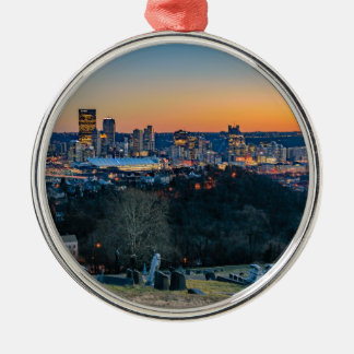 Pittsburgh Skyline at Sunset Silver-Colored Round Ornament