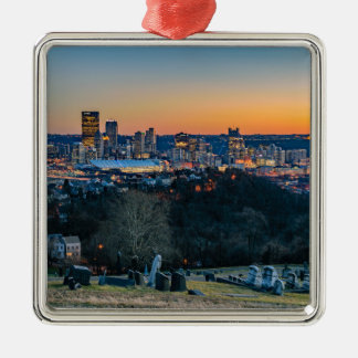 Pittsburgh Skyline at Sunset Silver-Colored Square Ornament