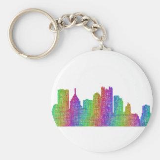 Pittsburgh skyline basic round button keychain