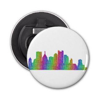 Pittsburgh skyline button bottle opener