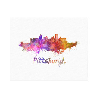 Pittsburgh skyline in watercolor canvas print