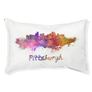 Pittsburgh skyline in watercolor pet bed