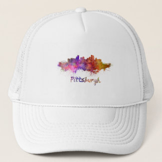 Pittsburgh skyline in watercolor trucker hat